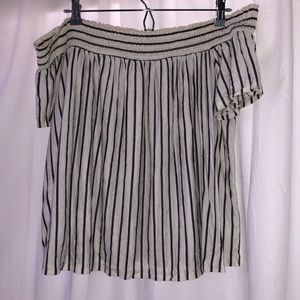 American Eagle Striped Off The Shoulder Top